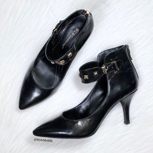 BCBG black pointed toe heels with studded strap